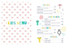 Kids menu in the space style vector illustration