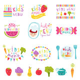 Kids menu stickers vector set. Stock Photos