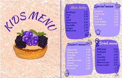 KIDS MENU template, colorful VECTOR illustration with drawn cupcake with currants and blackberries and doodle food. KIDS MENU template, colorful VECTOR stock illustration