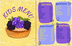 KIDS MENU template, colorful VECTOR illustration with drawn cupcake with currants and blackberries and doodle food. KIDS MENU template, colorful VECTOR Royalty Free Stock Images