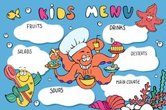 Kids menu template. Funny cartoon sea creatures: octopus, starfish, fish. Kids menu colorful design for restaurant, cafe Stock Photography