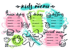 Kids menu template with lettering and badges Royalty Free Stock Photo