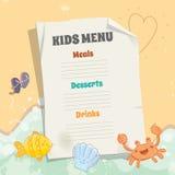 Kids menu vector template stock images