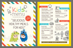 Kids menu vector template. Cute colorful kids meal menu vector template vector illustration