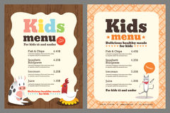 Kids menu vector template. Cute colorful kids meal menu vector template with animals cartoon stock illustration