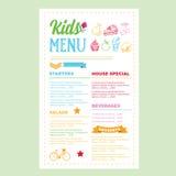 Kids menu. Vector template. Royalty Free Stock Photos