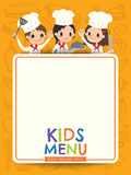 Kids menu young chef children with blank menu board cartoon Royalty Free Stock Photography