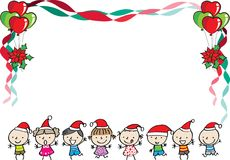 Kids with merry christmas border. Kids with merry christmas background design vector icon vector illustration