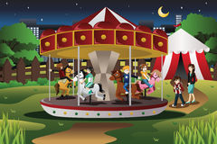 Kids on Merry Go Round. A vector illustration of happy kids riding merry go round in an amusement park Royalty Free Stock Photos