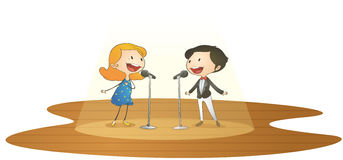 Kids and mic. Illustration of kids and mic on a white background