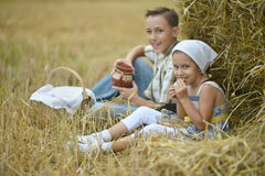 Kids  with milk and fritters in field Royalty Free Stock Photos