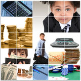 Kids and Money Collage. Collage of elementary age kids in suits and financial themed images Stock Photography