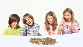 Kids with money Royalty Free Stock Photography