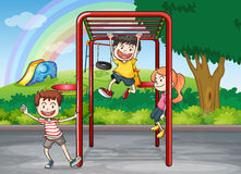 Kids and monkey bar. Illustration of kids playing game in a beautiful nature Stock Photos