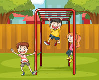 Kids and monkey bar Stock Images