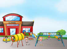 Kids and monkey bar. Illustration of kids playing game in a beautiful nature Royalty Free Stock Photography