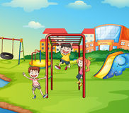 Kids and monkey bar. Illustration of kids playing game in a beautiful nature Stock Photo