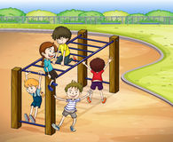 Kids and monkey bar. Illustration of kids playing game in a beautiful nature Royalty Free Stock Photos