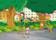 Kids and monkey bar. Illustration of kids playing game in a beautiful nature Royalty Free Stock Photo
