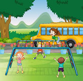 Kids and monkey bar. Illustration of kids playing game in a beautiful nature Stock Images