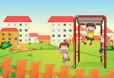 Kids and monkey bar. Illustration of kids playing game in a beautiful nature Royalty Free Stock Image
