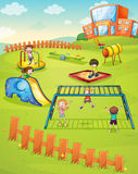 Kids and monkey bar. Illustration of kids playing game in a beautiful nature Stock Image
