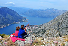 Kids at the mot op the bay of Kotor Royalty Free Stock Photos