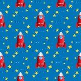 Kids motif seamless pattern space and rocket Stock Image