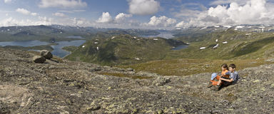 Kids mountain hiking in Norway Royalty Free Stock Photography