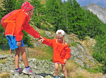 Kids in mountains Stock Photography