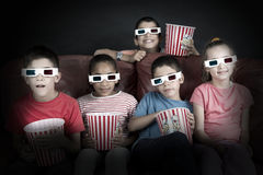 Kids in the movies Stock Photos