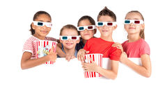 Kids in the movies Royalty Free Stock Photos