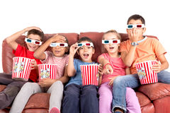 Kids in the movies Stock Image