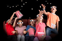 Kids in the movies Royalty Free Stock Photography