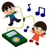 Kids and mp3 Stock Images