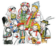 Kids multicultural traditional costu. Kids multicultural traditional East European costumes Royalty Free Stock Image