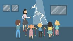 Kids at museum. Kids at historical museum watching dinosaur skeleton. Woman guide Royalty Free Stock Image