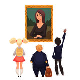 Kids in museum looking at classical work of art. Cartoon style vector illustration. Museum guide telling children about a woman portrait. School trip to museum Stock Photos