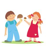 Kids and mushroom, vector icon, colored illustration Stock Photos