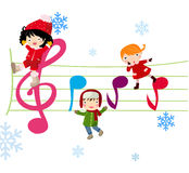 Kids and music. Illustration art Stock Image
