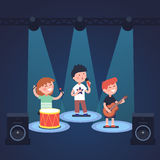 Kids music band playing at stage festival vector illustration