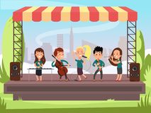 Kids music band playing on stage at outdoor festival vector illustration. Child concert performance on stage vector illustration