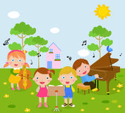 Kids and music. Illustration of kids and music Stock Images