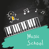 Kids music school. Piano keyboard. Vector illustration, chalk on blackboard Royalty Free Stock Image