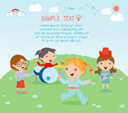 Kids and music, vector illustration of four girl in a music band, Children playing Musical Instruments Royalty Free Stock Photo