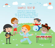 Kids and music, vector illustration of four girl in a music band, Children playing Musical Instruments,illustration of Kids playin Stock Photos