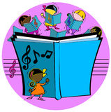 Kids with musical book Stock Images
