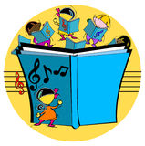 Kids with musical book Stock Photo