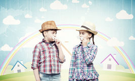 Kids with mustache Royalty Free Stock Image