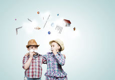 Kids with mustache Royalty Free Stock Photo